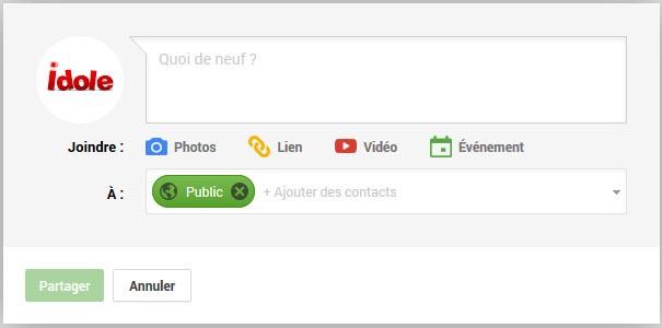 google plus fenêtre de message