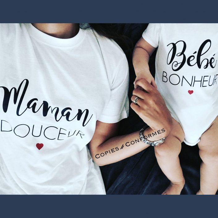 T-shirt duo maman et bébé