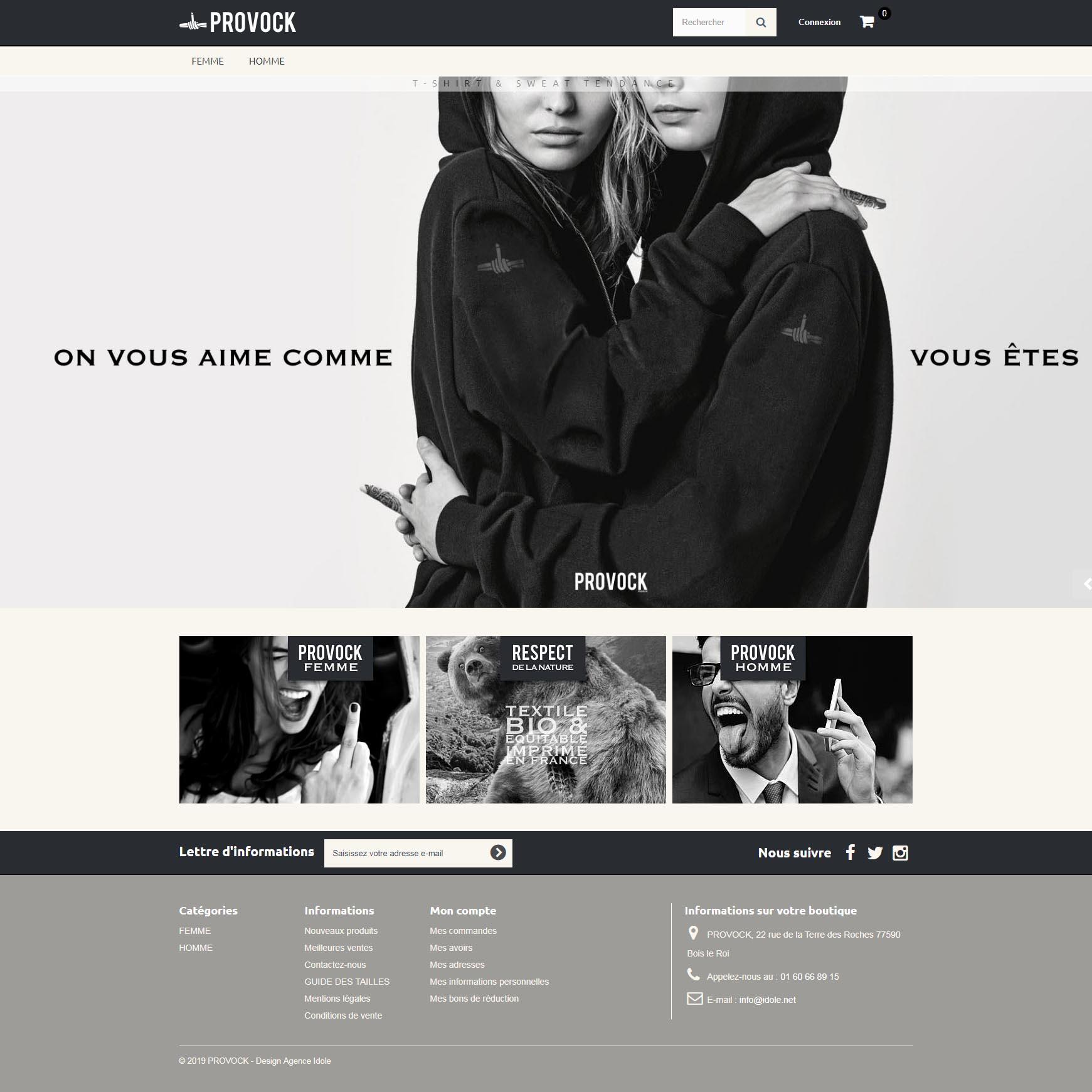 Site ecommerce - Provock